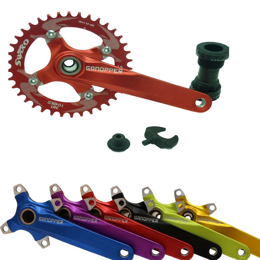 Цена за 104BCD алюминиевого сплава дорога горный велосипед 175 мм кривошипно костюм звездочки набор 68BB складной велосипед ремонт для XT M610 M590 mtb велосипед части
