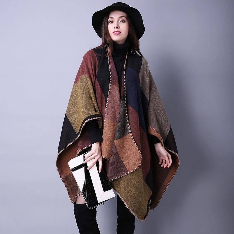 2016 New Brand Women's Autumn/Winter Poncho Vintage Blanket Women Lady Knit Shawl Cape Cashmere Long Scarf Poncho Cardigans H190