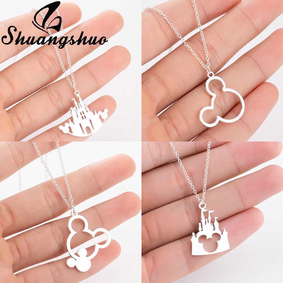 Shuangshuo Cartoon Animal Mickey Necklace For Women Mouse Castle Chokers Stainless Steel Necklaces & Pendants collares