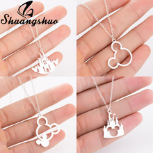 Shuangshuo Cartoon Animal Mickey Necklace For Women Mouse Castle Chokers Stainless Steel Necklaces & Pendants collares(China)