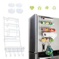 Suction Cup Kitchen Storage Rack Refrigerator Side Wall Hanger Holder Iron Save Space Shelf Hook Organizer Cocina Accessories