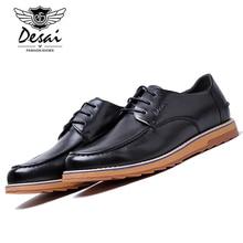 DESAI Men's Genuine Cow Leather Formal Shoe Man Dress Shoes Round Toe Vintage Italian Mens Casual Shoes DS0013-11