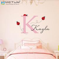 Ladybug Wall Decal with Personalized Initial & Name Girls Nursery Room Decor Wall Art Wall Stickers for Home Decor
