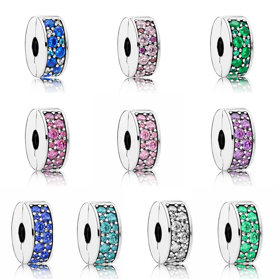 New 925 Sterling Silver Bead Charm Multicolor Mosaic Shining Elegance Clip Stopper Beads Fit Pandora Bracelet Bangle Diy JewelryNew 925 Sterling Silver Bead Charm Multicolor Mosaic Shining Elegance Clip Stopper Beads Fit Pandora Bracelet Bangle Diy Jewelry