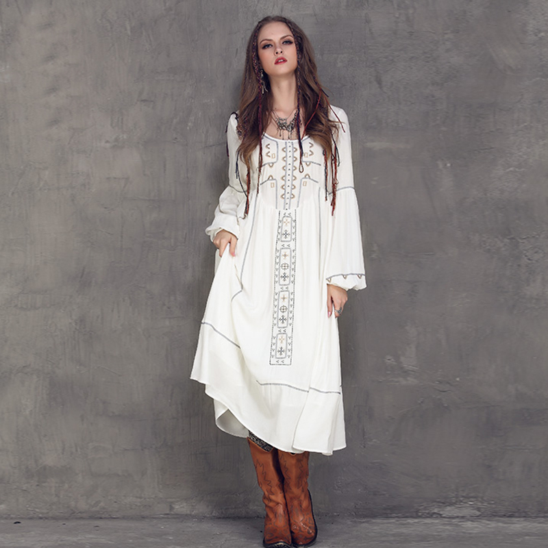 2018 New Summer Ethnic Vintage Emboidery Cotton Linen Dresses Women O-Neck Loose Long Lantern Sleeve Casual Boho Dress Vestidos embroidered casual loose knitted dress flower long sleeved dress o neck line plain dresses fall casual dresses