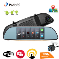 Podofo Car DVR 3G Touch Mirror Camera 7 Full HD 1080P Dash Cam Video Recorder Camera Android GPS Rearview Mirror Registrar