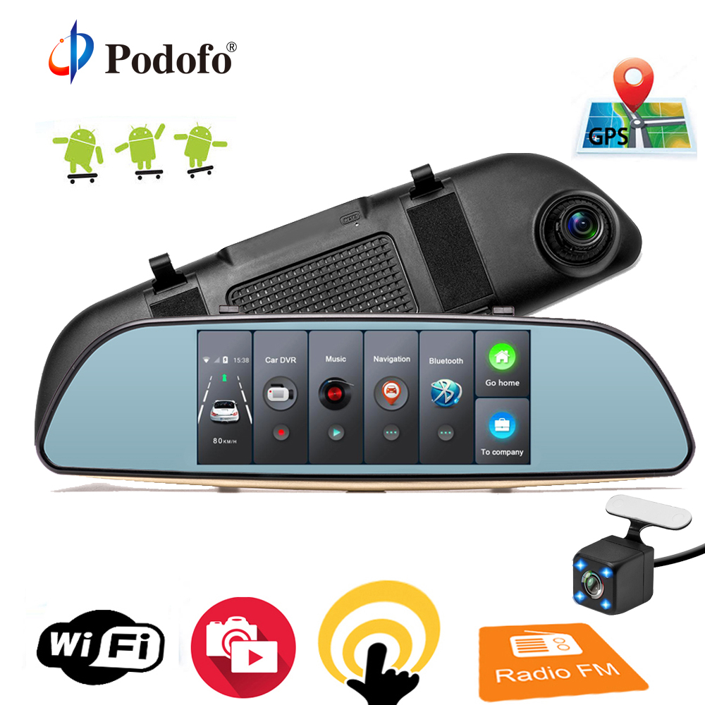 Podofo Car DVR 3G Touch Mirror Camera 7 Full HD 1080P Dash Cam Video Recorder Camera Android GPS Rearview Mirror Registrar gps navigator mirror car video recorder with bluetooth full hd resolution wifi camera automobile dvr rearview mirror dash cam