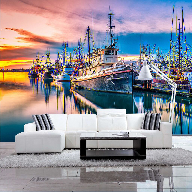 Large Sea Sailing Painting 3D City Embossed Wallpaper 3D Room for Livingroom 3 d Wall Paper Covering Household Murals Art Decor shinehome classical rose music embossed photo wall paper room wallpaper 3d for livingroom 3 d wall roll background murals rolls
