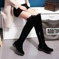 Novo 2016 mulheres botas longas outono e inverno sobre o joelho botas de salto quadrado saltos baixos das mulheres coxa botas altas mais feminino tamanho