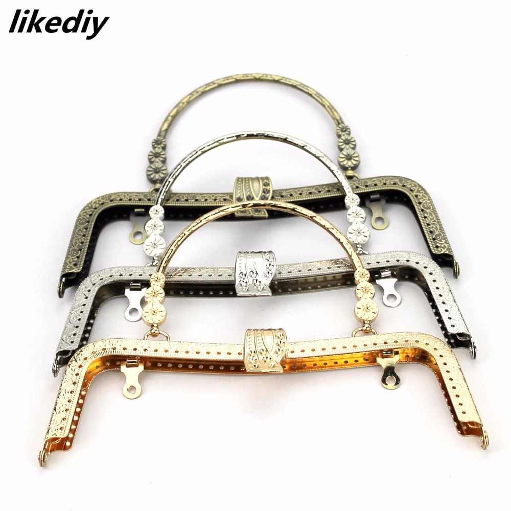3 pcs/lot 20.5 cm concave waist leaf head Metal Purse Frame Bronze Silver Golden Clasp Lock Clip Bag Accessories Parts handle