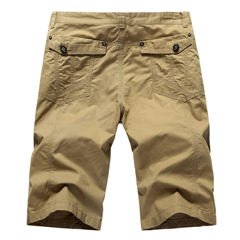 Summer Men's Overalls Shorts Classic Style Fashion Casual Cotton Slim Fit Cotton Short Pants Male Brand Clothes Khaki Green 1