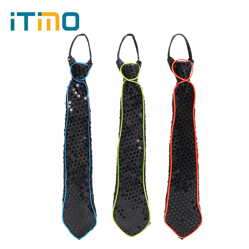 ITimo Luminous Necktie LED Lamp Bar Show Club Cosplay Novelty Tie Noctilucent Lamp Party Dressing