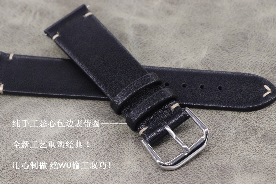 2019 new design 18mm 19mm 20mm 22mm black soft New Top Grade Thin section Genuine Leather Watch Strap for High-end Brand watch