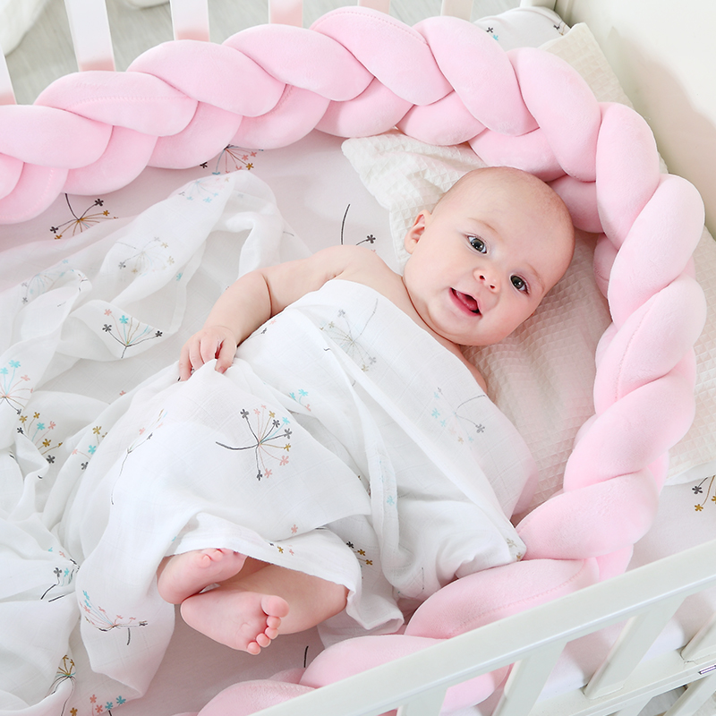 200cm Length Baby Bed Bumper Pure Color Weaving Plush Baby