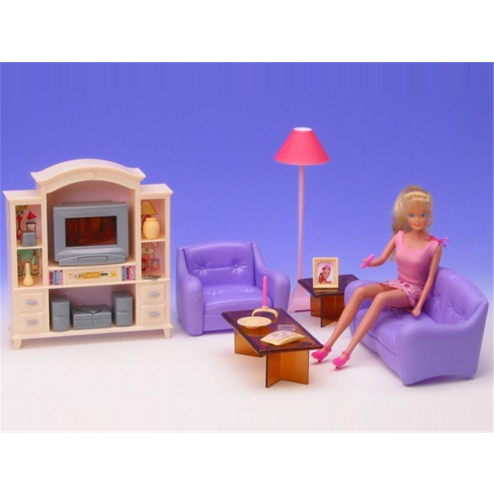 Miniature Furnitures Smooth Yellow & Purple Residing Room Mini Equipment for Barbie Doll Home Traditional Toys for Lady Free Transport