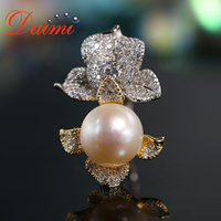 DAIMI Designer Silver Ring Large Flower Ring 925 Sterling Silver with 12 13mm Natural Pearl Ring
