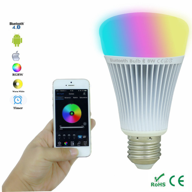 8W Smart Led Bulb Bluetooth 4.0 E27 Dimmable RGBWW Mi Light Led ...