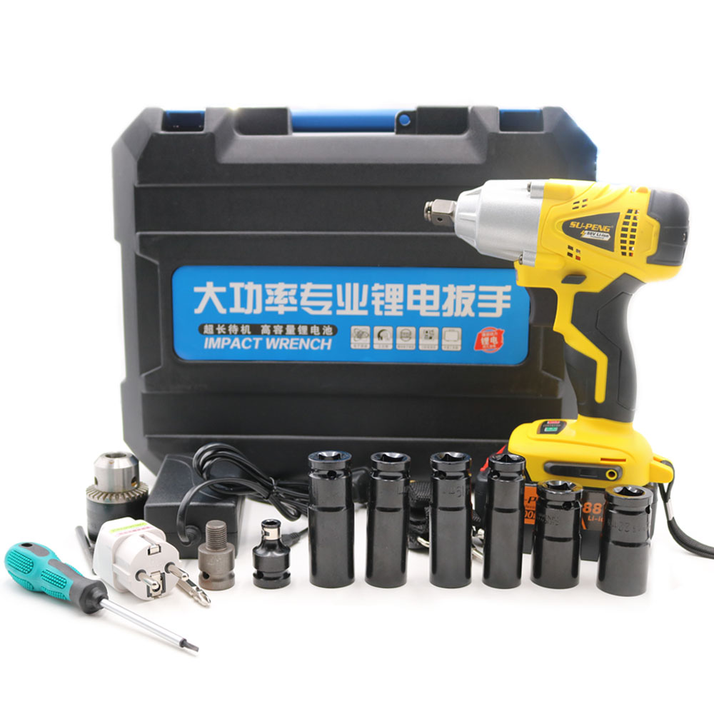 1/2 «Li-ion 88 v 8000mA 2 batteries Électrique Clé À Chocs puissant clé échafaudages lithium électrique pneumatique forage outil