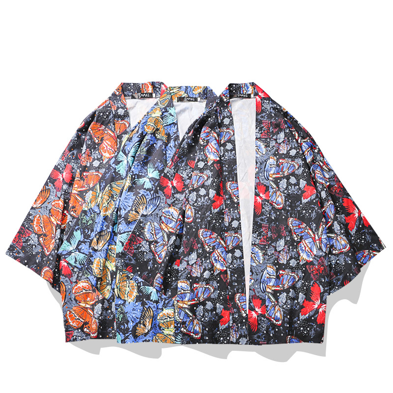 Men's And Women's Japanese Kimono Cardigan Harajuku Wind Jacket Short Jacket Summer Trend Handsome Sun Protection Clothing Thin
