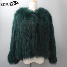 New real raccoon fur knitted coat women jacket winter olive green/ army green