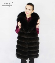 Linhaoshengyue The real natural fox fur vest  with Suit collar