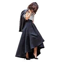חצאית גבוהה נמוכה נשים שיק קפל גבוה רוכסן Longa Saia חצאיות מקסי סאטן ארוך באורך רצפת מותניים 100% תמונות אמיתיות