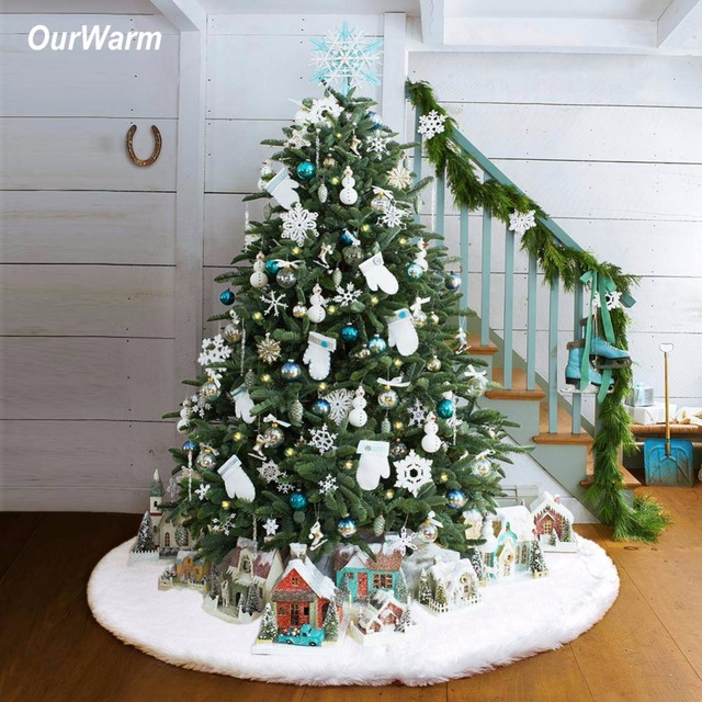Ourwarm Luxury Faux Fur Christmas Tree Skirt 48 Inch New Year White Decorations