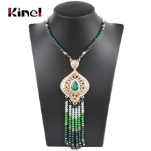 Kinel Luxury Indian Ethnic Long Pendant Necklace For Women Fashion Gold Boho Handmade Beading Vintage Wedding Jewelry 2019 New