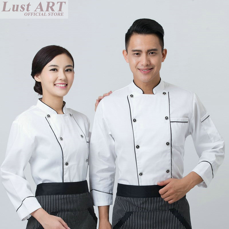 Food Service chef uniform restaurant women men chef jacket hotel kitchen cook clothes male cook uniform B049 girl