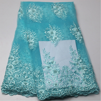 Teal African Lace Fabric 2017 High Quality 3D Lace Fabric Embroidery Tulle Lace Trim Bridal