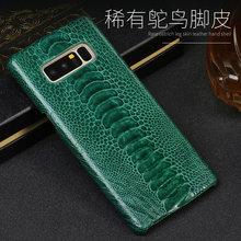 For Samsung Galaxy S6 S7 S8 S9 s10 Plus Note 8 9 A5 A7 A8 2018 J3 J5 J7 Real Natural Ostrich Leg skin slim inclusive back cover(China)
