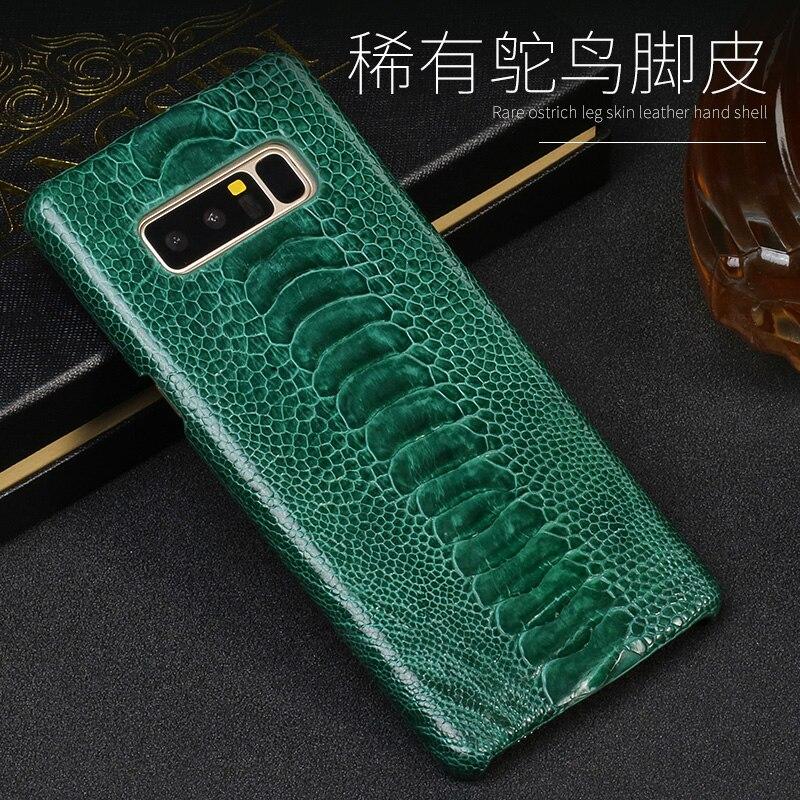 Pour Samsung Galaxy S6 S7 S8 S9 s10 Plus Note 8 9 A5 A7 A8 2018 J3 J5 J7 Réel Naturel D'autruche peau mince inclusive couverture arrière