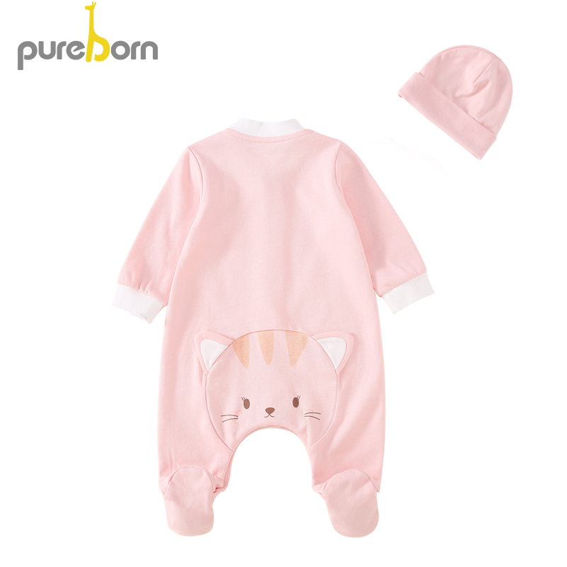 Pureborn Newborn Unisex Baby Clothes Cartoon Animal Footies+Hat For Baby Girl Infant Boy Footed Sleep And Play Cotton Clothing