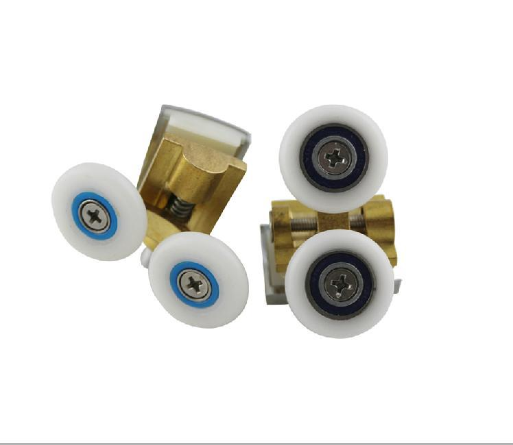 Free Shipping 4 pairs  shower roller copper double pulley bathroom accessories diameter 26mm
