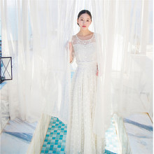 White Hook Flower Hollow Lace Embroidery Sleeping Dress Retro Princess Long Nightdress Elegant Woman Nightgowns QZ0022
