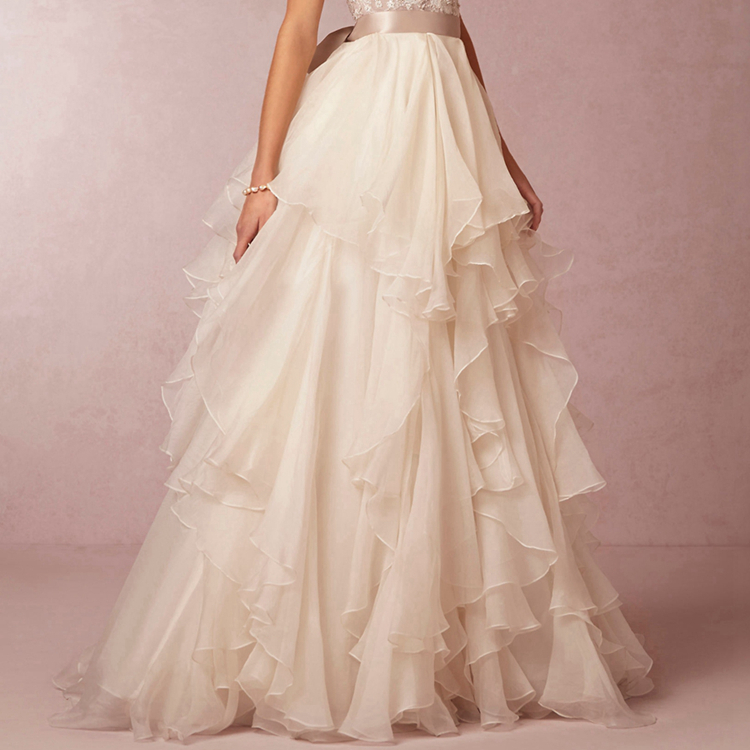 Wedding Gowns Accessories: Ivory Chiffon Satin Ribbon Waistline Floor Length Over