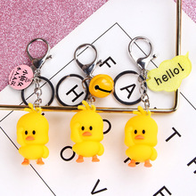 High Quality 2019 New Little Cute Yellow DUCK Key Chain Dancing duck keychain pendant bag accessory DIY small object Gift