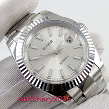 цена New Arrival 40mm Bliger Sterile dial luminous Sapphire Glass Date Stainless steel case Automatic movement Men's business Watch онлайн в 2017 году