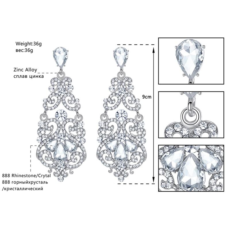 Minmin Fashion Large Floral Sølv Farge Teardrop Crystal Lang Drop - Mote smykker - Bilde 3