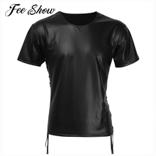 Sexy Black Mens Lingerie Patent Leather Lace-up Short Sleeve Top T-shirt Fashion Men's Patent Leather Comfortable Tops T-shirt
