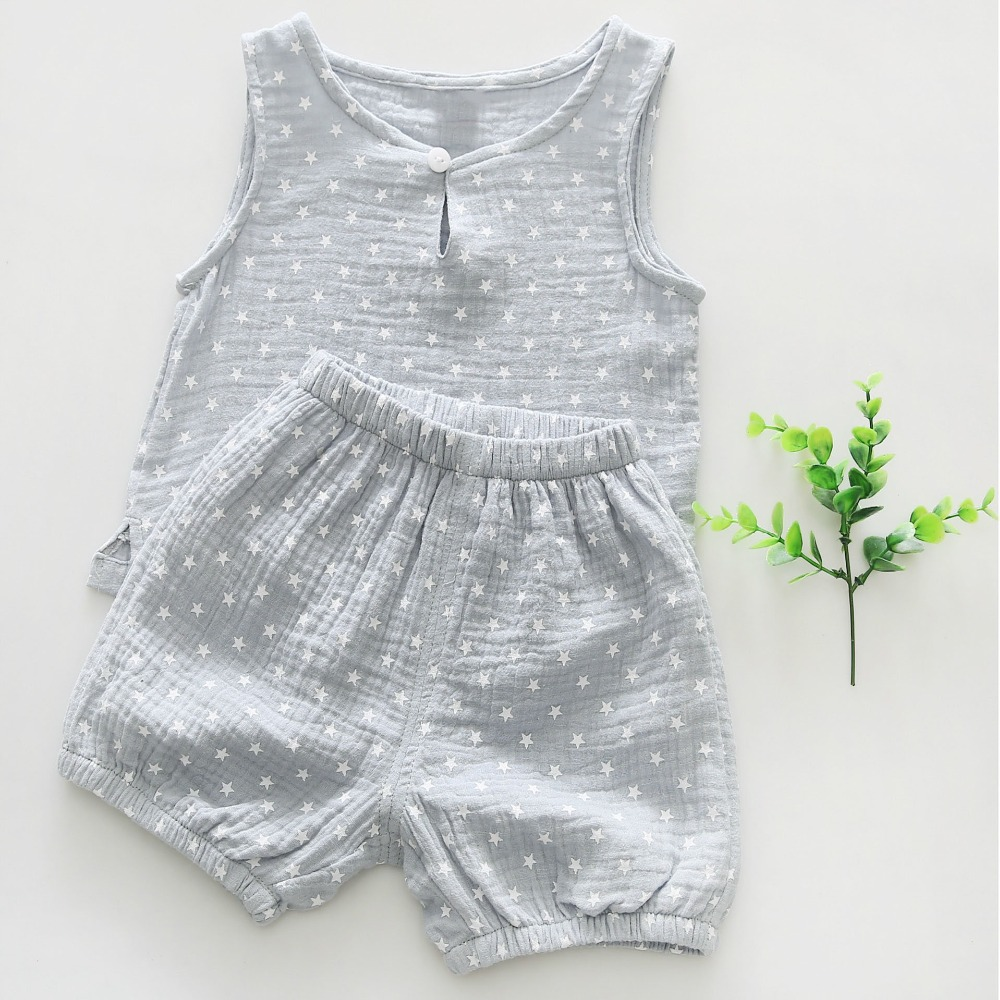 Cotton Infant Newborn Baby Boys Girls Summer Clothing Sets Star Tree Print Tank tops and Shorts 2 pcs Suits Outfits in Clothing Sets from Mother Kids