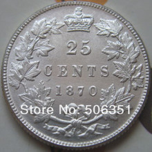 FREE SHIPPING canada 1870 25 cents coins copy(China)