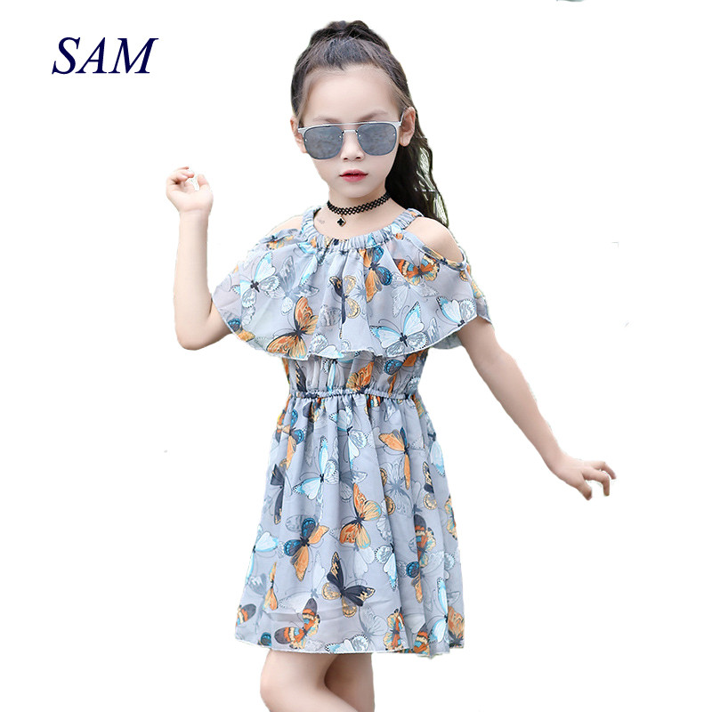 Big girls chiffon dress teenagers dress little girls dresses summer 2019 kids girl clothes size for 3 4 5 6 7 8 9 10 11 12 years Платье