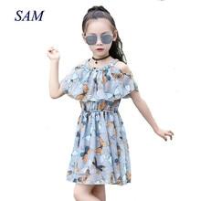 2018 Nuevo verano niños pequeños dama fresca escape hombro vestido de gasa de impresión sin mangas de la cintura vestidos de mariposa de los niños