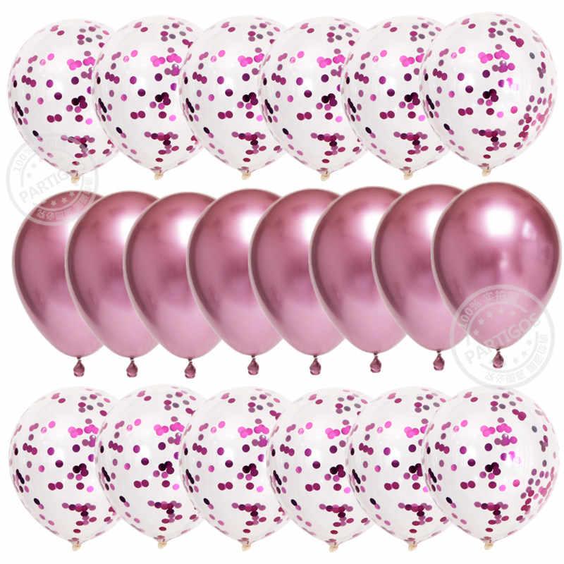 20Pcs Rose Goldลูกโป่งConfettiชุดChromeบอลลูนวันเกิดตกแต่งงานแต่งงานตกแต่งครบรอบGlobals Metallic