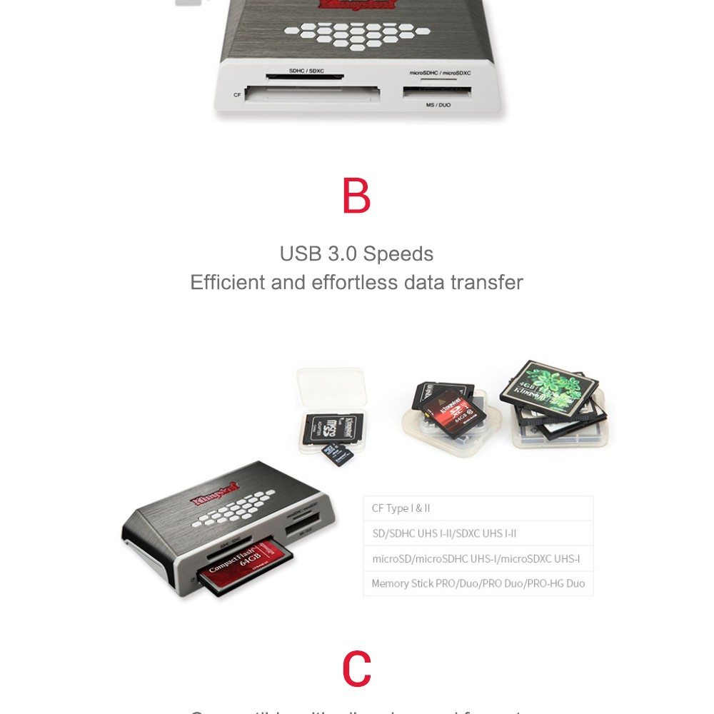 Kingston USB3.0 Media Reader SD TF CF Card Reader UHS-I Multi-function Flash Memory Card Hi-Speed Media All-in-one External USB
