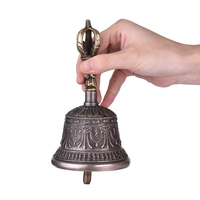 High Quality Handcrafted Tibetan Meditation Singing Bell with Dorje Vajra Bronze Temple Buddhism Buddhist Practice Instrument