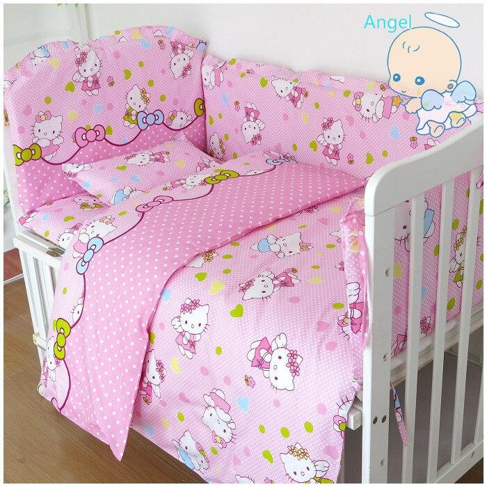 6Pcs Cartoon Cot Bumper Baby Crib Bedding Set With Bumper  Bedding Set (bumper+sheet+pillow Cover)