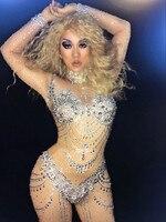 Блестящие кристаллы комбинезон костюм Baalmar Bling большие камни комбинезон Для женщин бриллианты Боди для ночного клуба вечерние праздновать