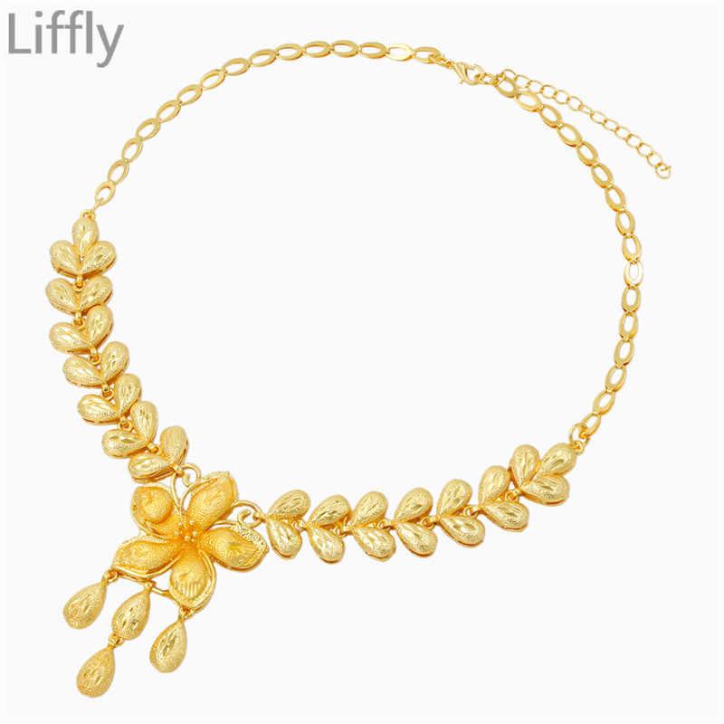 דובאי אופנה פרח צורת עיצוב 24 זהב תכשיטי סטי שרשרת צמיד טבעת קסם הכלה יוקרה חתונה תכשיטי אבזרים